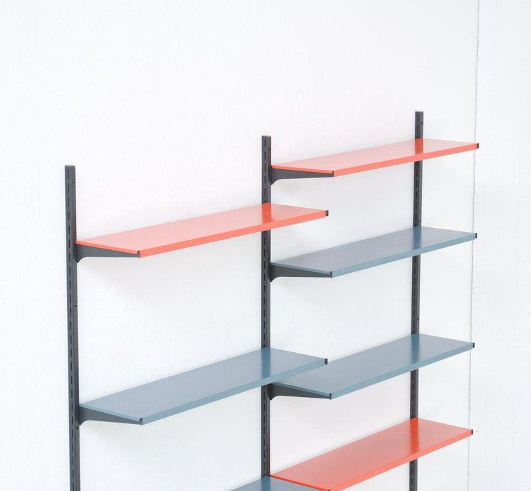Mid Century Modern Metal Wall Mounted Bookshelf By Tomado For Sale