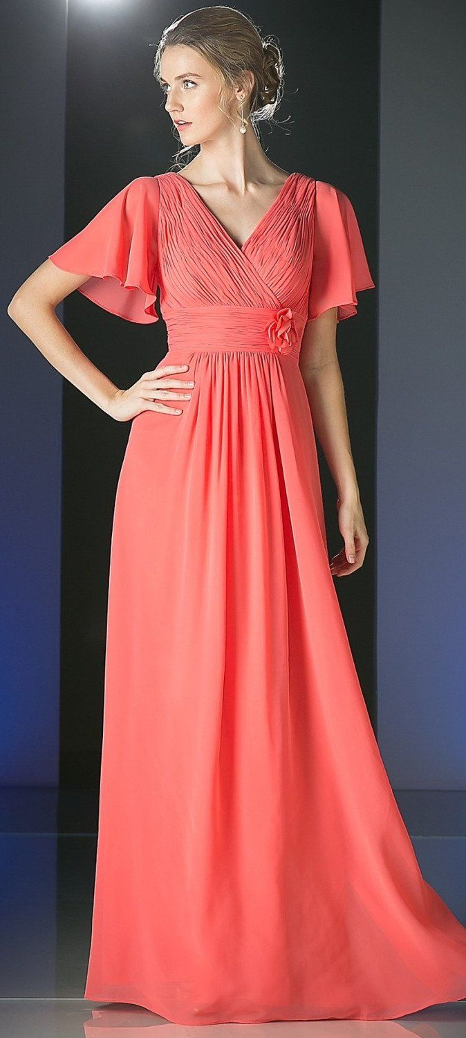 Long chiffon coral gown vneck evening dress pleated bodice mom