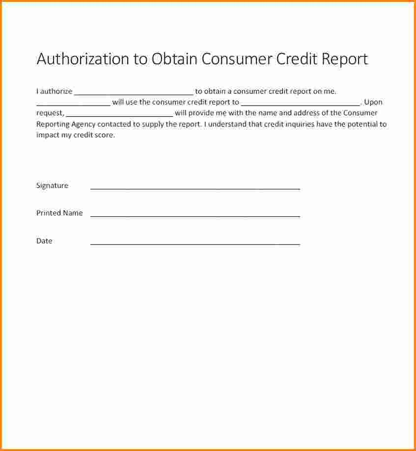Authorization For Credit Check Form Generic Free Card Letter