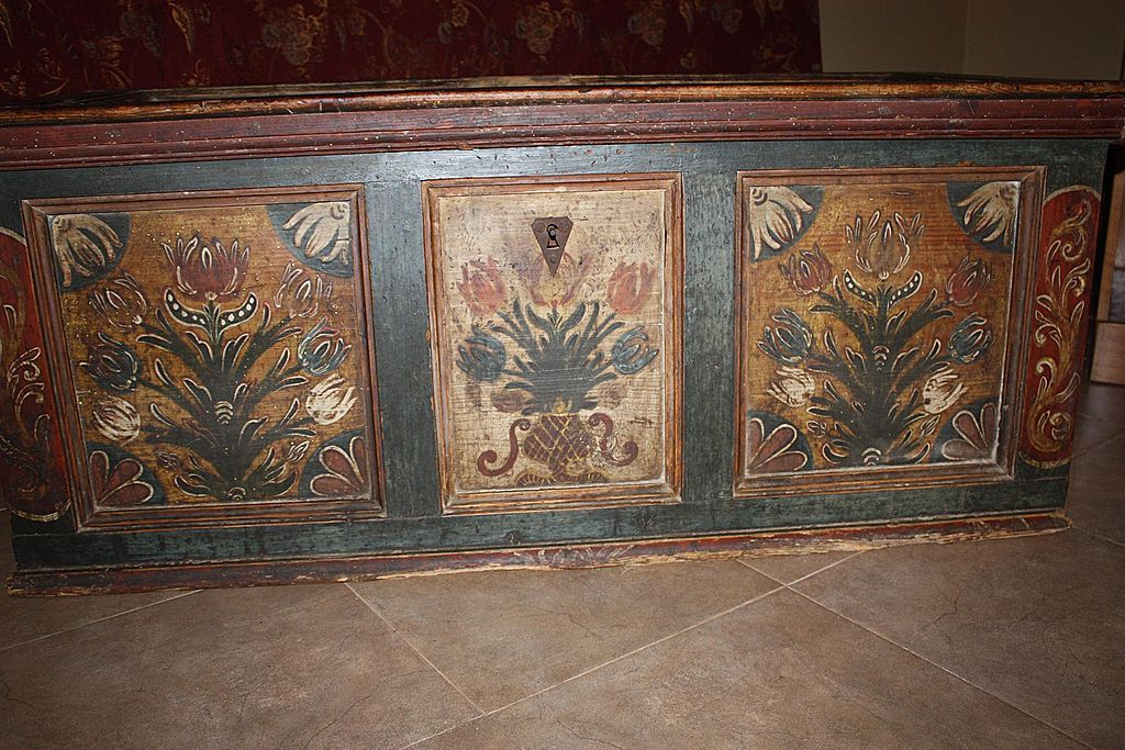 Antique German Blanket Chest Trunk Dated 1766 Hand Painted