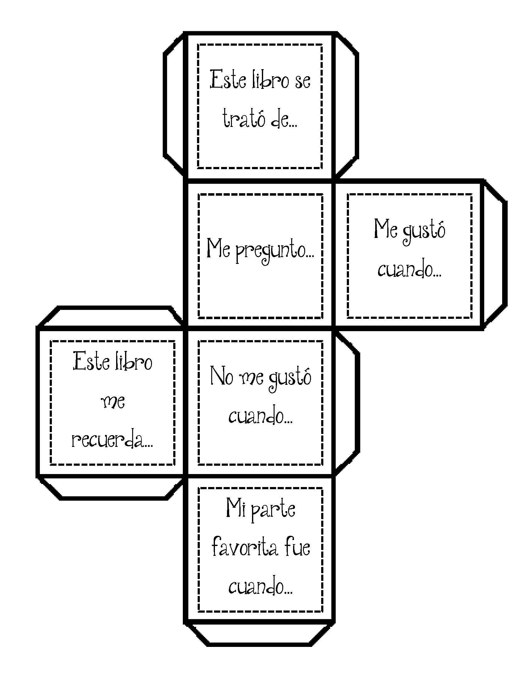 Cubo de Comprension de lectura | Comprensión lectora | Pinterest ...