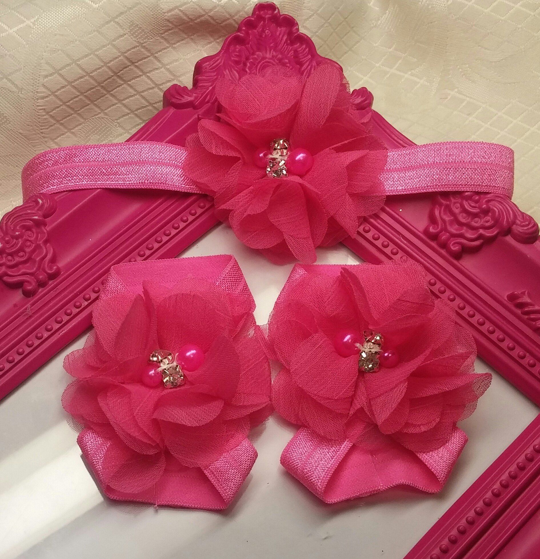 Hot Pink Chiffon Flower Headband And Barefoot Sandal Set Chiffon