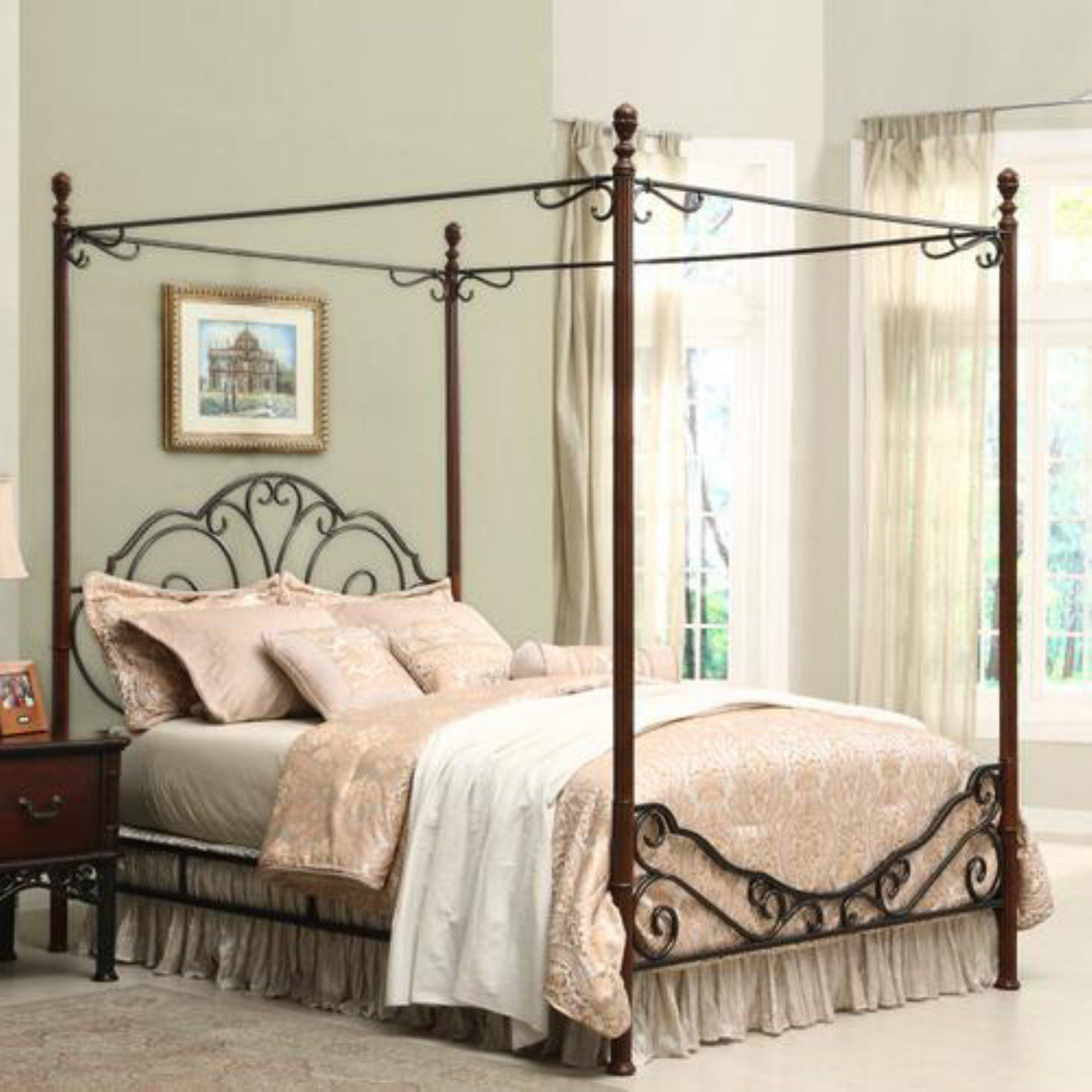 Weston Home Adison Graceful Scrolls Metal Canopy Bed  684513K 1[Bd]Cp