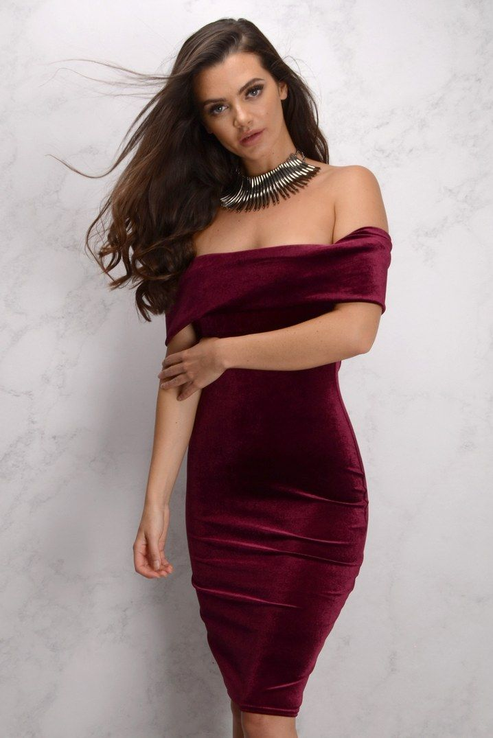 1b2b5a56cceb Wine Velvet Off Shoulder Dress