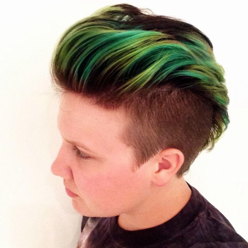 Green Hair From Jan April 15 2 Kids Hair Color Men Hair Color Boys Colored Hair