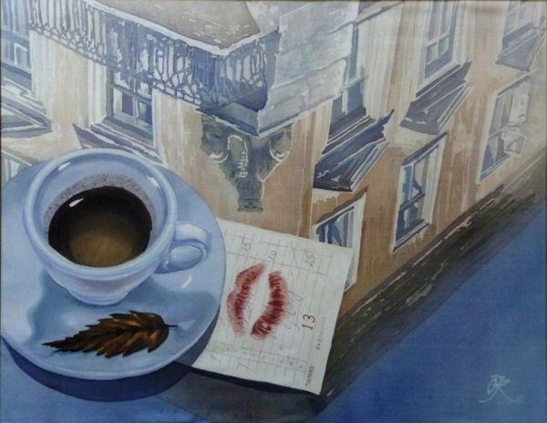 """Lviv, I love you"" silk painying by Lena Korolyuk"