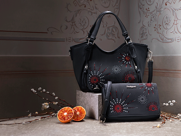 Bag Strass Black With Appliqués And Mini Messenger wP80Okn