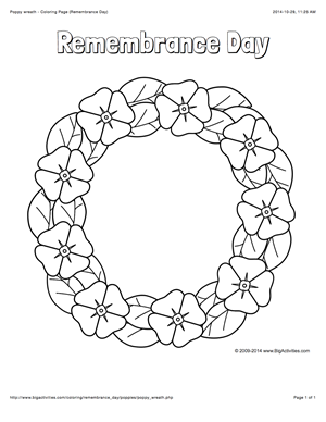 Remembrance Day Coloring Page With A Wreath