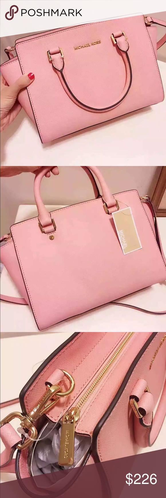 40a2dbe08c1fdb Brand New w/tag MK Selma Medium Satchel- Pale Pink Michael Kors Selma  Saffiano Leather Medium Satchel-Pale Pink 13''X8