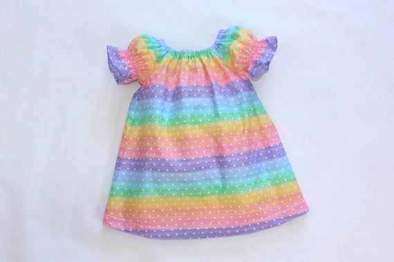 Photo of Spring Dress, Rainbow Peasant Dress, Girls Dress, Photo Shoot, Easter Dress, Coming Home Dress, Past