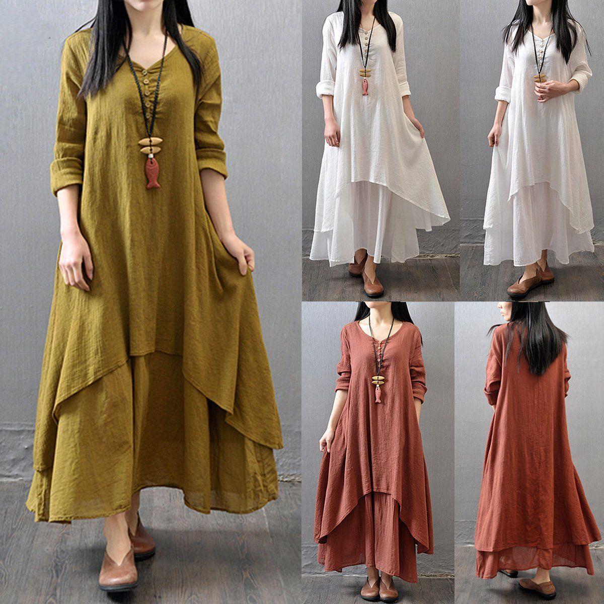 Women long sleeve cotton linen shirt aline long maxi cotton loose