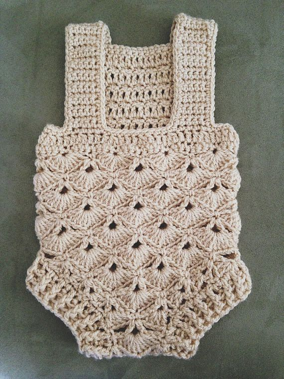 Crochet PATTERN Baby Romper sizes 0-3 and 6-12 months | soquetes ...