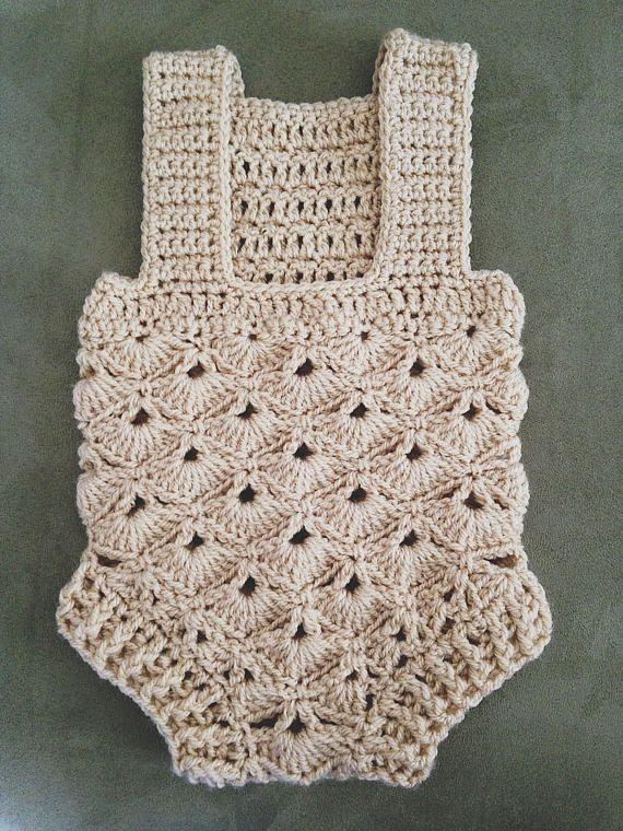 Crochet PATTERN Baby Romper sizes 0-3 and 6-12 months | Crochet ...