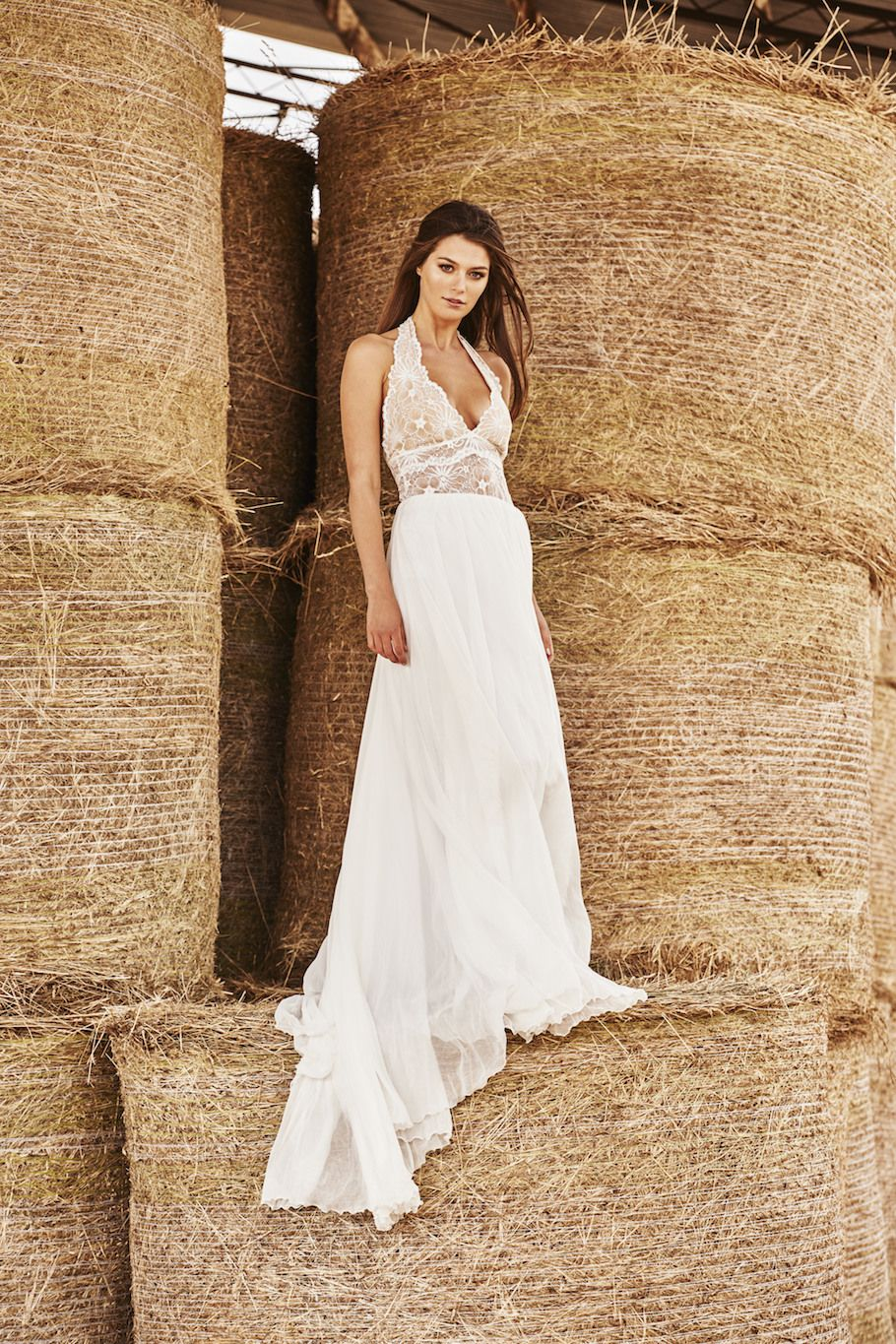 With A Unique French Lace Bodysuit And Flowing Silk Chiffon Skirt The Dakota Country Wedding DressesLace