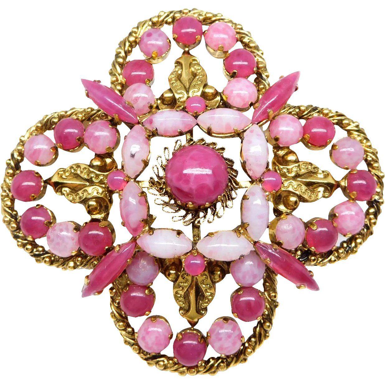 9e0f53de8b963 Vintage Pink Cranberry Art Glass Designer Maltese Cross Brooch ...