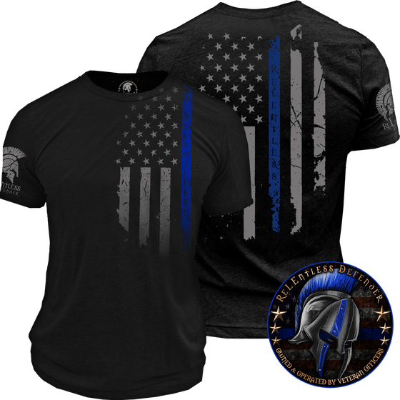 cdb11235 oath, relentless defender, thin blue line, shirt, men, police shirt, police  flag