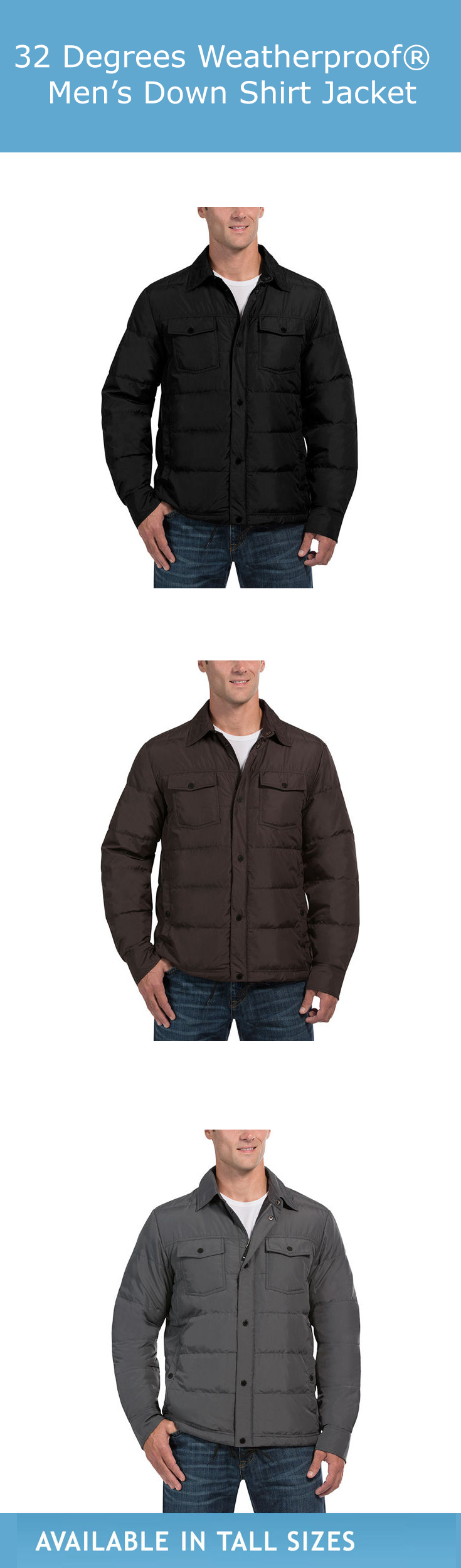 32 Degrees Weatherproof Men S Down Shirt Jacket Espresso Ultra Light Packable Down 90 Down 10 Feather Insul Jackets Affordable Jackets Outerwear Jackets [ 2500 x 735 Pixel ]