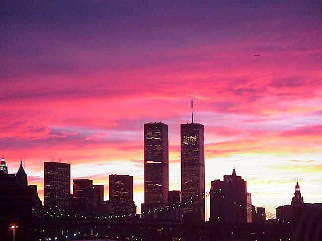 Gorgeous pink sunset in NYC, pre terror in the skies.