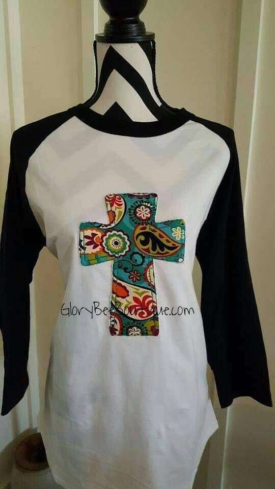 4ce393eaa Items similar to Raggy Cross Applique Raglan Shirt, Cross Applique Raglan  Tee on Etsy