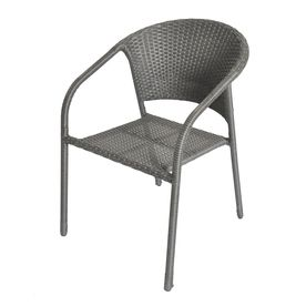 garden treasures baltic bay grey woven seat steel stackable spring motion patio dining chair