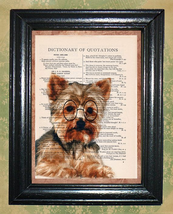 Little Terrier wearing Glasses - Vintage Dictionary Page Art Upcycled Book Page Art Home Decor Art Print