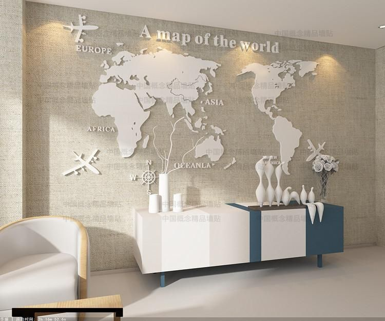 Creative world map 3d stereoscopic wall stickers acrylic wall creative world map stereoscopic wall stickers acrylic wall stickers office living room sofa tv background decoration taobao global station gumiabroncs Gallery