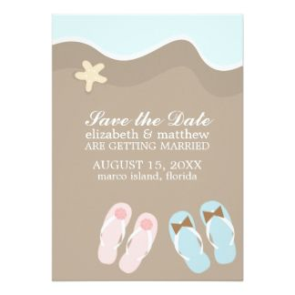 His and Hers Flip Flop Sandals Wedding Custom Invites