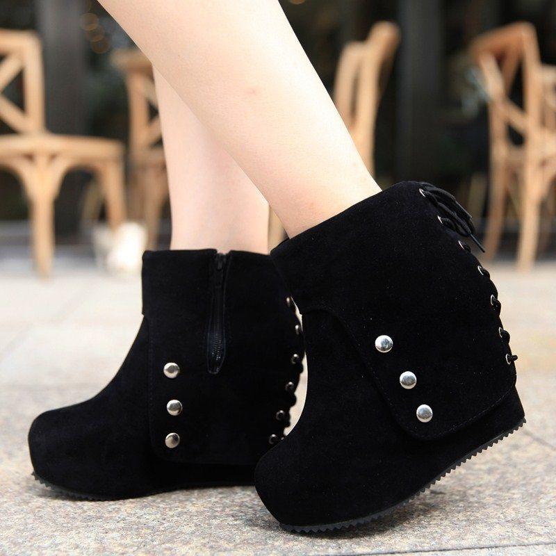 High-top Boots Or Shoes Women Elevator Zipper Bohemian Boots Clubbing Heeled…
