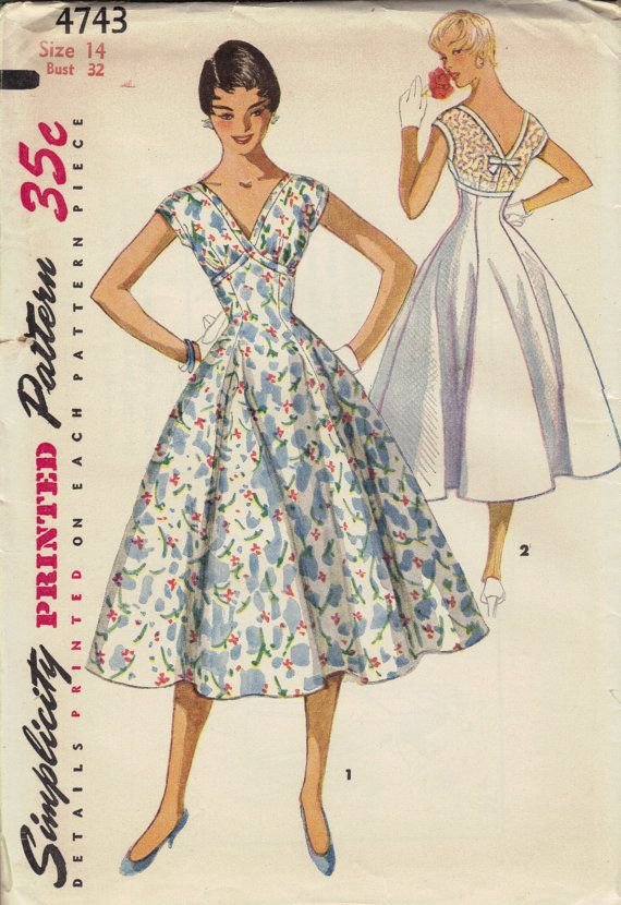 1950s Swing Dress Simplicity Sewing Pattern By Adelebeeannpatterns