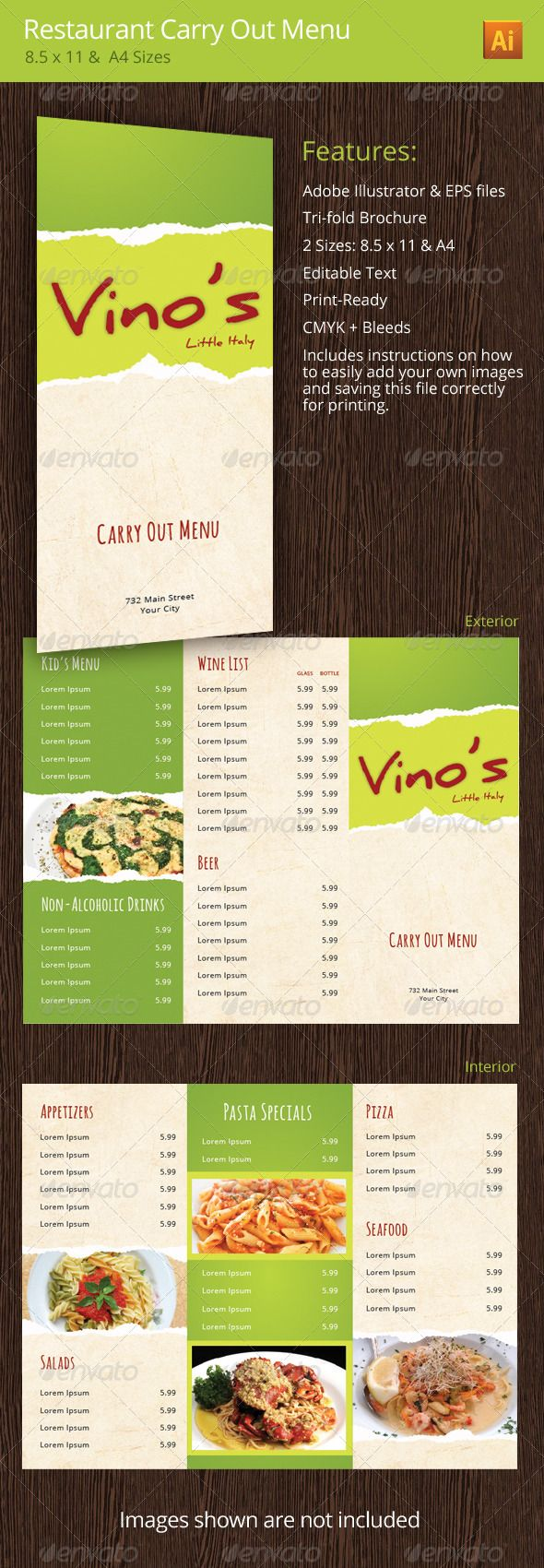 restaurant take out menu templates
