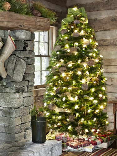 A Wooded Tennessee Retreat Carved wood, Cabin christmas and Burlap
