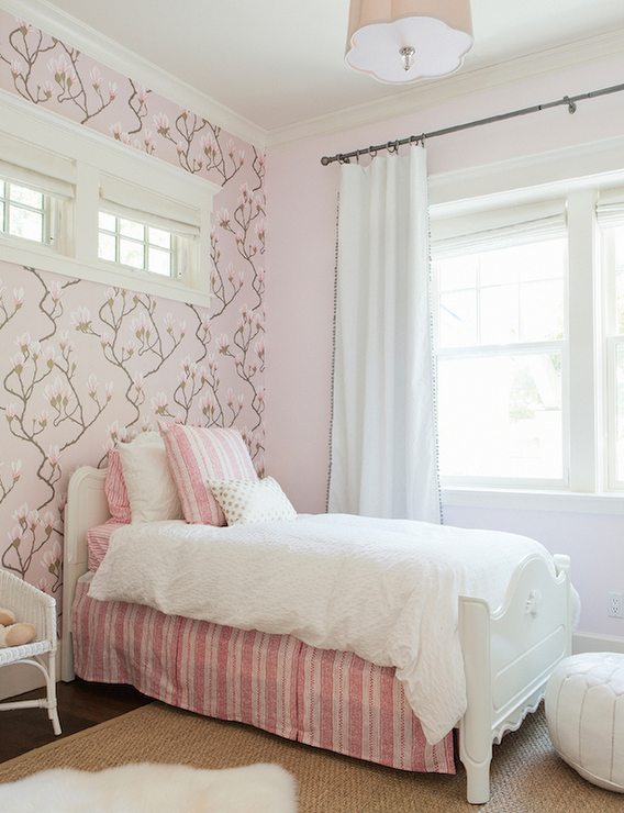 Best Pink Girl S Bedroom Features An Accent Wall Clad In Cole 400 x 300