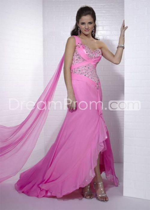 Cheap Beading Asymmetry One-Shoulder Evening Prom Dresses , beading evening dresses ,asymmetry prom dresses, one-shoulder homecoming dresses, sexy elegant dresses,