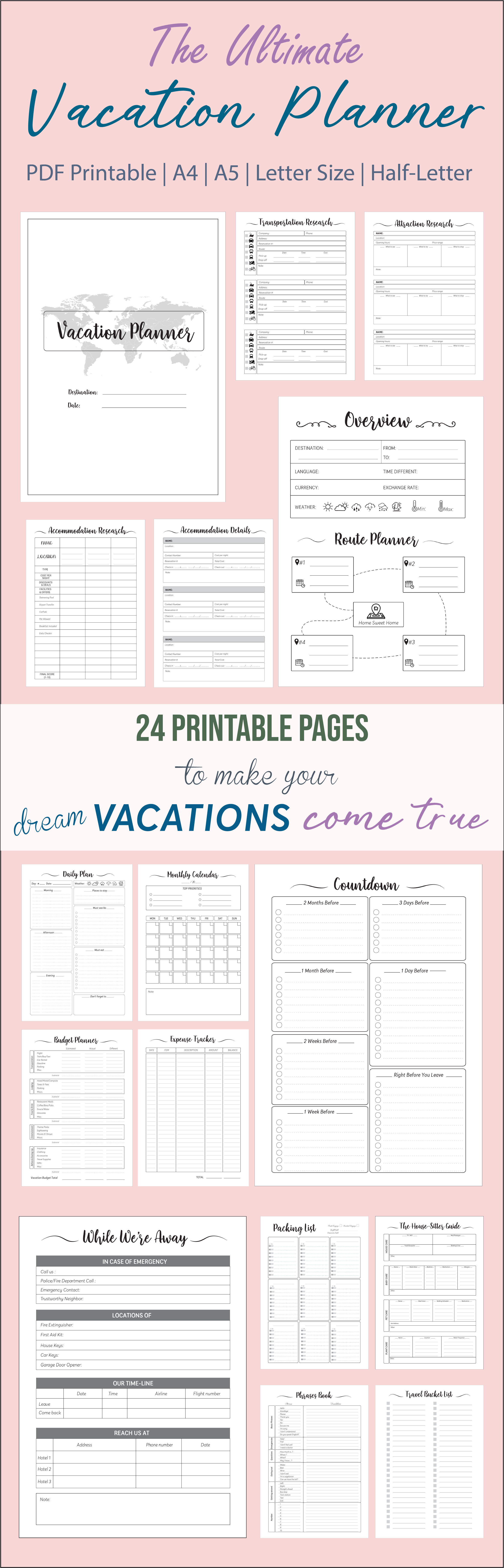 Vacation Planner Printable Template Travel Planner