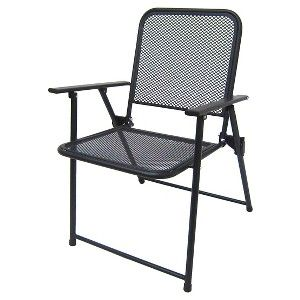 Metal Mesh Folding Patio Chair Threshold With Images Outdoor Folding Chairs