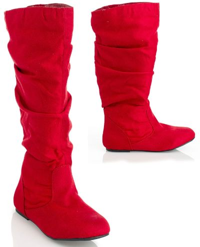 Boots, Flat heel boots, Red boots