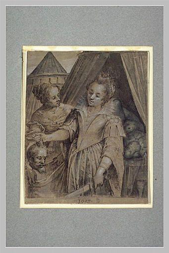 AACHEN Hans von (école) Titre Judith mettant la tête d'Holopherne dans le sac tenu par sa servante Période création/exécution 1er quart 17e siècle Lieu de conservation Paris ; musée du Louvre département des Arts graphiques