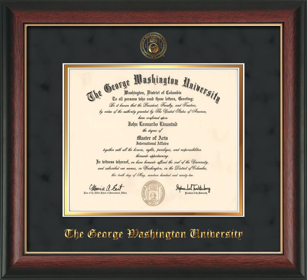 George Washington University Diploma Frame - Rosewood w/Gold Lip - w ...