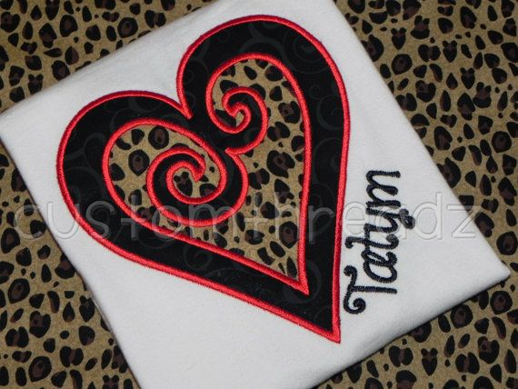 Sassy Scroll Leopard and Red Heart Applique by MyCustomThreadz, $22.00