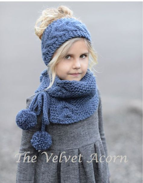 Knitting pattern for The Plumage Set for headwrap and cowl in Toddler, Child,  Adult