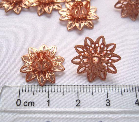 10pcs Copper Lotus Brass Filigree Flower Religious By Tsrose