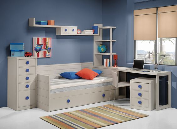 Habitaci n infant l gris y azul habitaci n juvenil dormitorios juveniles y habitaciones - Habitacion juvenil azul ...