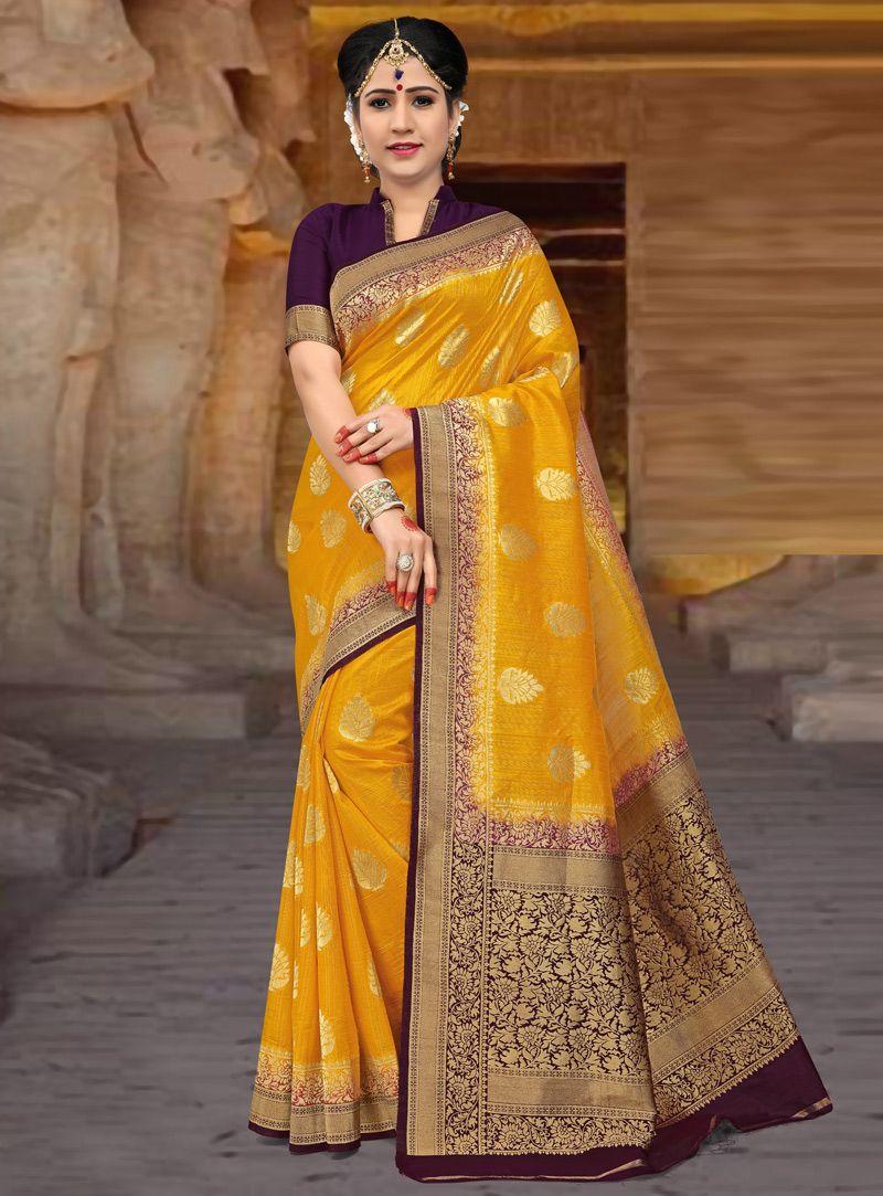 Yellow silk saree yellow silk festival wear saree   silk sarees  pinterest