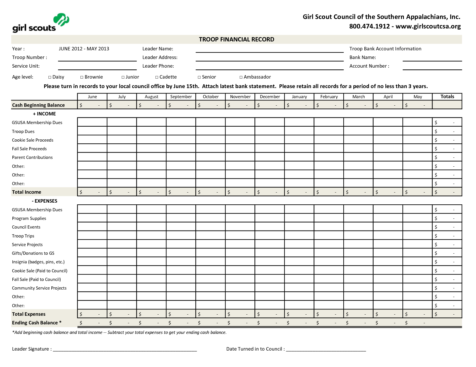 Excel version of Troop Financial Record Girl Scout