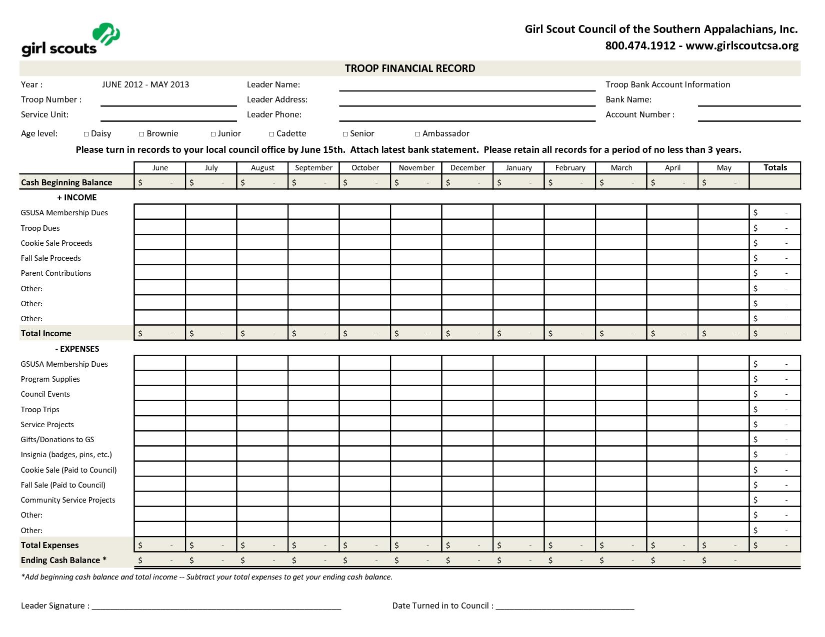 Excel Version Of Troop Financial Record