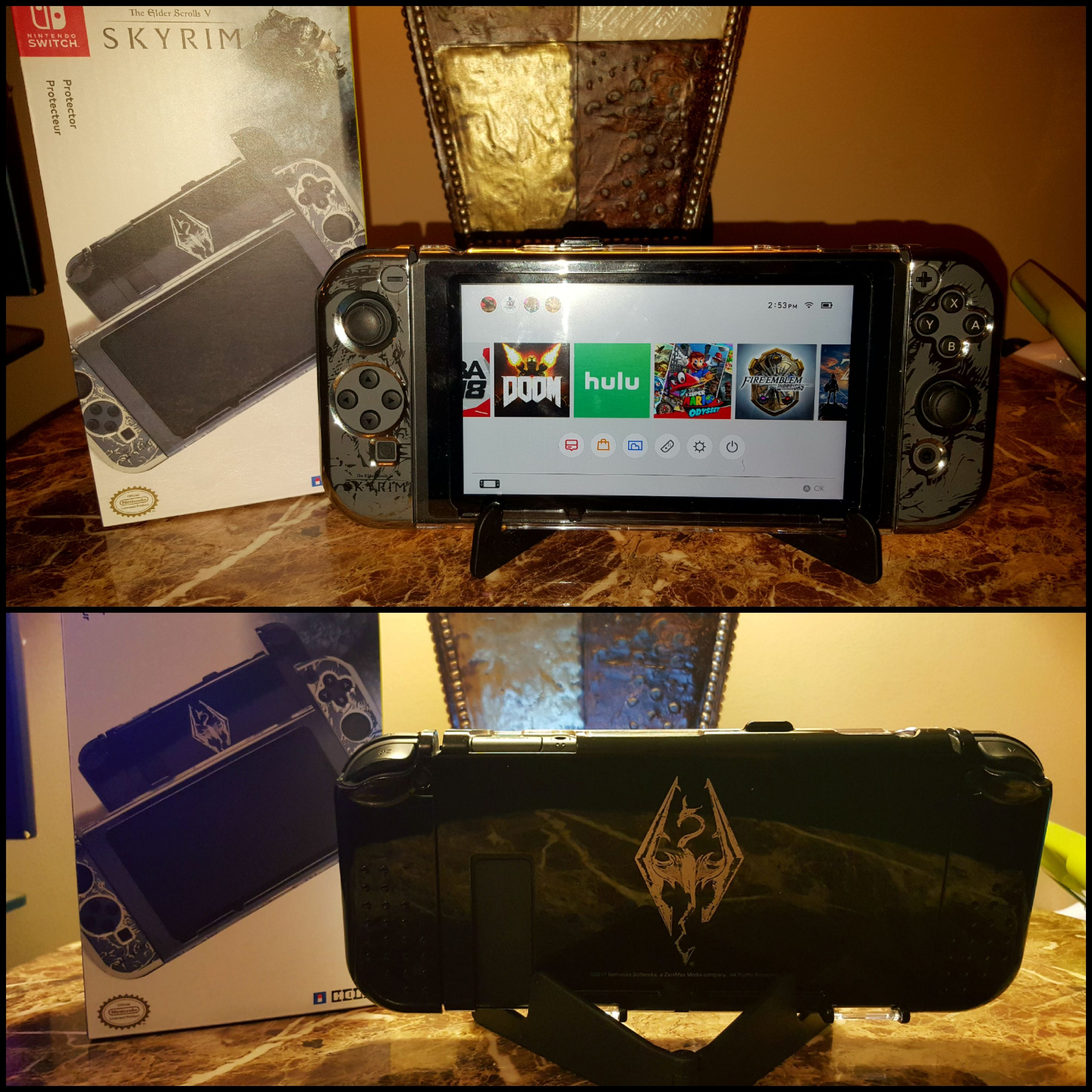 I got the Gamestop exclusive Skyrim case for the Switch today (plastic black stand is included) http://bit.ly/2lnzap3 #nintendo