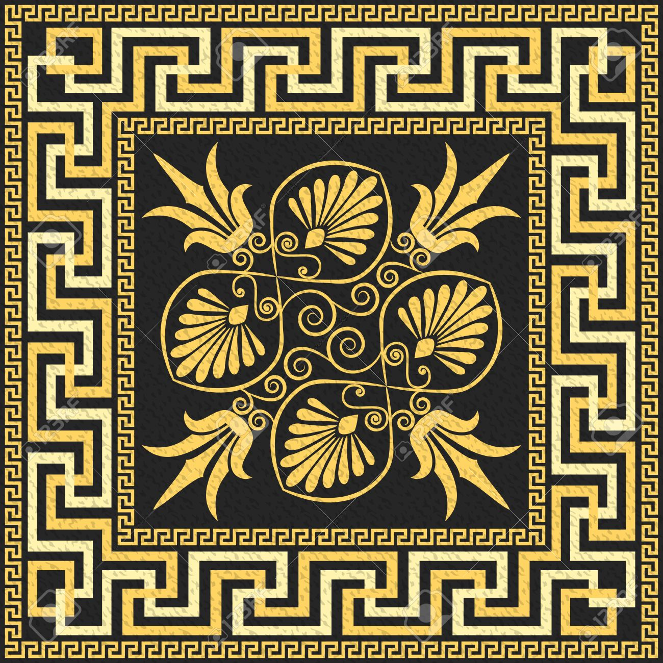 Kleinazie google zoeken all things greek pinterest vector traditional vintage golden square greek ornament meander and floral pattern on a black background reviewsmspy