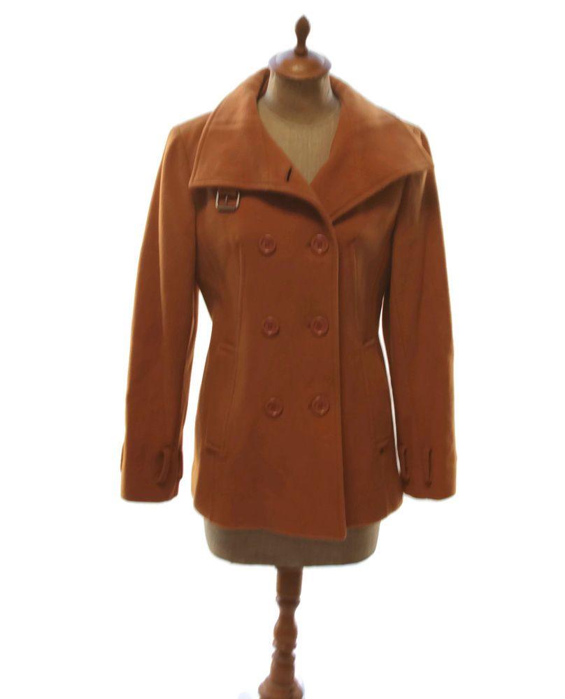1661a0f44647e Black Rivet Junior s Burnt Orange Pumpkin Fitted Jacket Peacoat Wool Blend  Small