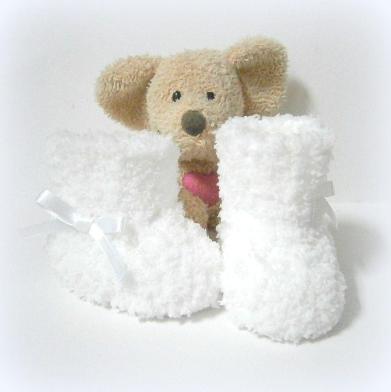 Chaussons bébé tricotés blancs Cocon taille 0/3 mois Tricotmuse ...