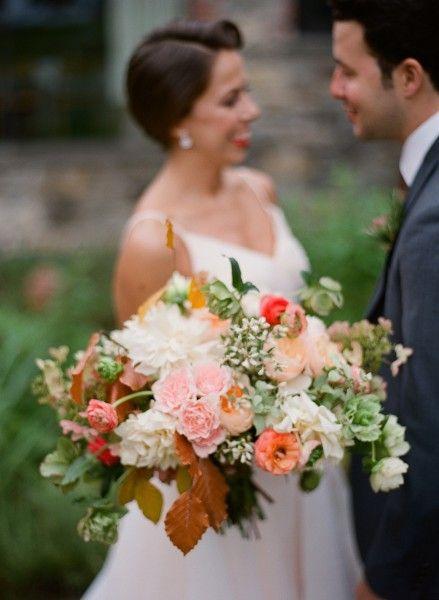 pink, peach and cream bridal bouquet | photo: Robert Sukrachand Photography